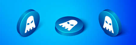 Isometric Executioner mask icon isolated on blue background. Hangman, torturer, executor, tormentor, butcher, headsman icon. Blue circle button. Vector Иллюстрация