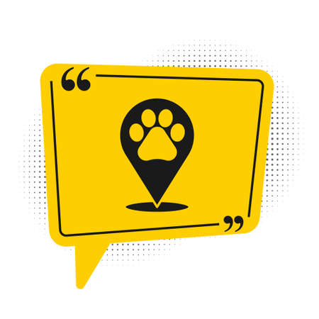 Black Map pointer with veterinary medicine hospital, clinic or pet shop for animals icon isolated on white background. Vet or veterinarian clinic. Yellow speech bubble symbol. Vector