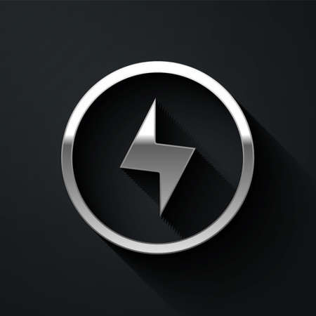 Silver Lightning bolt icon isolated on black background. Flash sign. Charge flash icon. Thunder bolt. Lighting strike. Long shadow style. Vector