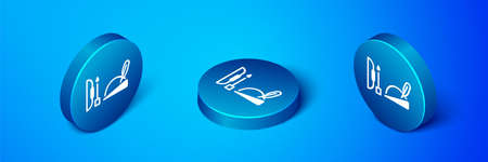 Isometric Robin hood hat with feather, bow and arrow icon isolated on blue background. Blue circle button. Vector