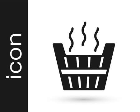 Black Sauna bucket icon isolated on white background. Vector