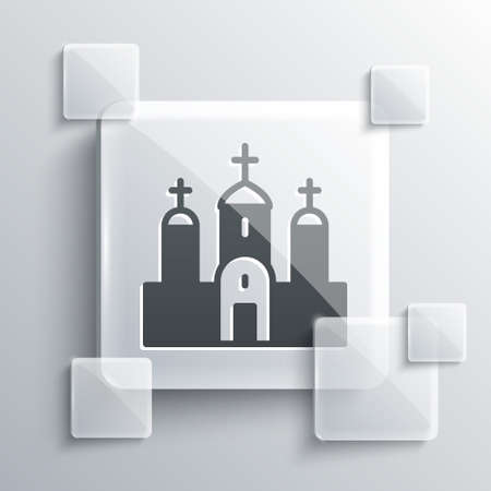 Grey Church building icon isolated on grey background. Christian Church. Religion of church. Square glass panels. Vector