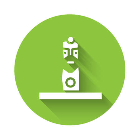 White Slavic pagan idol icon isolated with long shadow. Antique ritual wooden idol. Green circle button. Vector