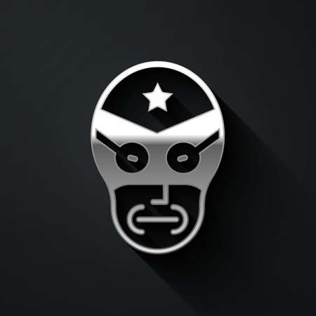 Silver Mexican wrestler icon isolated on black background. Long shadow style. Vector
