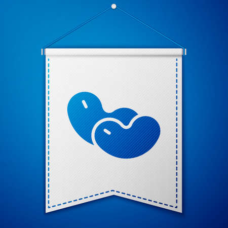 Blue Beans icon isolated on blue background. White pennant template. Vector Illustration