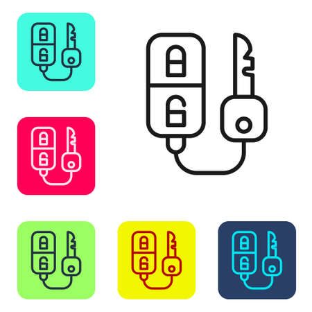 Black line Car key with remote icon isolated on white background. Car key and alarm system. Set icons in color square buttons. Vector Illustration