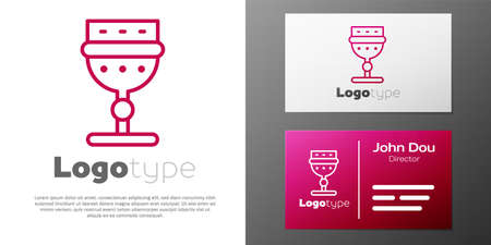 Logotype line Medieval goblet icon isolated on white background. 向量圖像