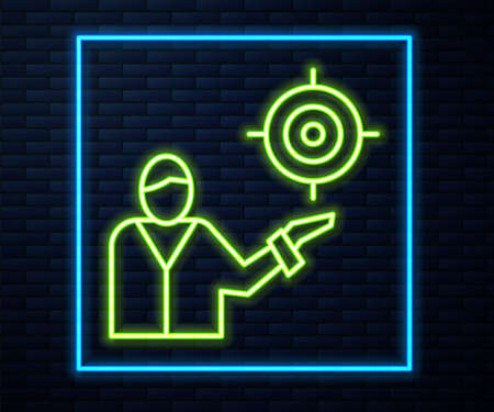 Glowing neon line Marketing target strategy concept icon isolated on brick wall background. Aim with people sign. Vector Stock Illustratie
