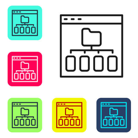 Black line Browser files icon isolated on white background. Set icons in color square buttons. Vector Illustration