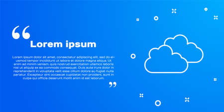White line Cloud icon isolated on blue background. Vector Illustration