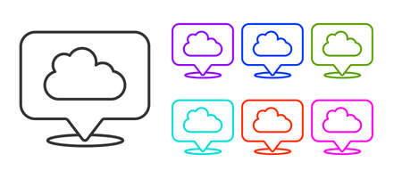 Black line Location cloud icon isolated on white background. Set icons colorful. Vector Illustration