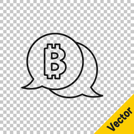 Black line Cryptocurrency coin Bitcoin icon isolated on transparent background. Physical bit coin. Blockchain based secure crypto currency. Vector Stock Illustratie