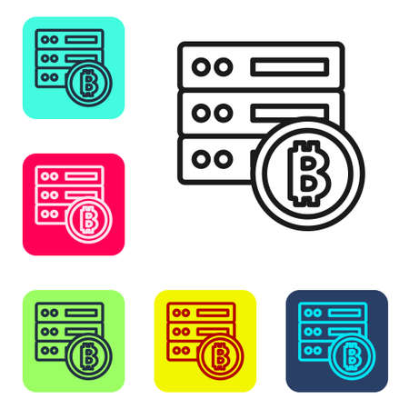 Black line Server bitcoin icon isolated on white background. Set icons in color square buttons. Vector Ilustração