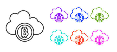 Black line Cryptocurrency cloud mining icon isolated on white background. Blockchain technology, bitcoin, digital money market, cryptocoin wallet. Set icons colorful. Vector Stock Illustratie
