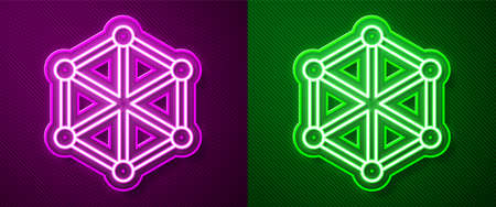Glowing neon line Blockchain technology icon isolated on purple and green background. Cryptocurrency data. Abstract geometric block chain network technology business. Vector