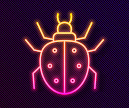 Glowing neon line Mite icon isolated on black background. Vector Иллюстрация