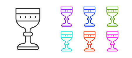 Black line Medieval goblet icon isolated on white background. Set icons colorful. Vector 向量圖像