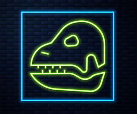 Glowing neon line Dinosaur skull icon isolated on brick wall background. Vector 向量圖像