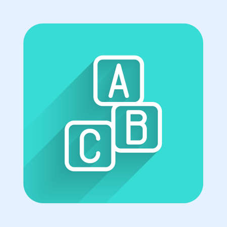 White line ABC blocks icon isolated with long shadow. Alphabet cubes with letters A,B,C. Green square button. Vector 矢量图像