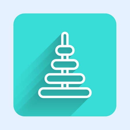 White line Pyramid toy icon isolated with long shadow. Green square button. Vector