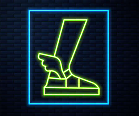 Glowing neon line Hermes sandal icon isolated on brick wall background. Ancient greek god Hermes. Running shoe with wings. Vector