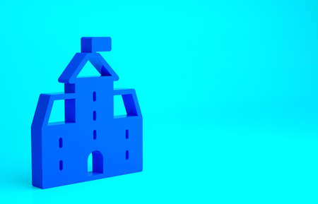 Blue Castle icon isolated on blue background. Medieval fortress with a tower. Protection from enemies. Reliability and defense of the city. Minimalism concept. 3d illustration 3D render