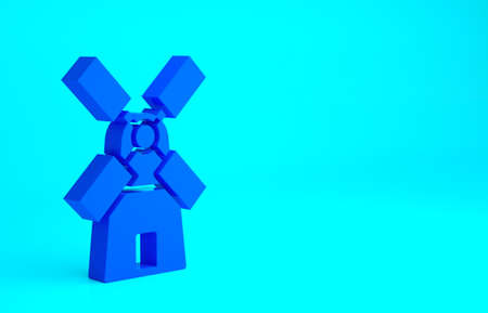 Blue Windmill icon isolated on blue background. Minimalism concept. 3d illustration 3D render