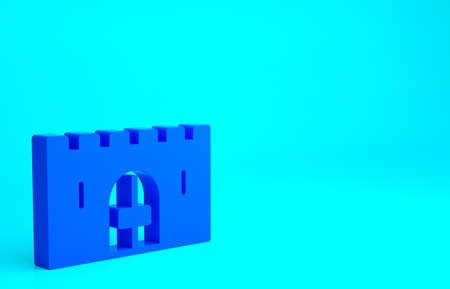 Blue Medieval castle gate in a stone wall icon isolated on blue background. Medieval fortress. Protection from enemies. Minimalism concept. 3d illustration 3D render