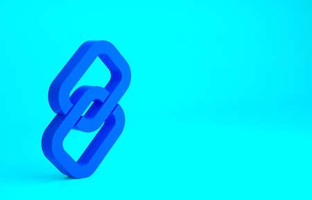 Blue Chain link icon isolated on blue background. Link single. Hyperlink chain symbol. Minimalism concept. 3d illustration 3D render