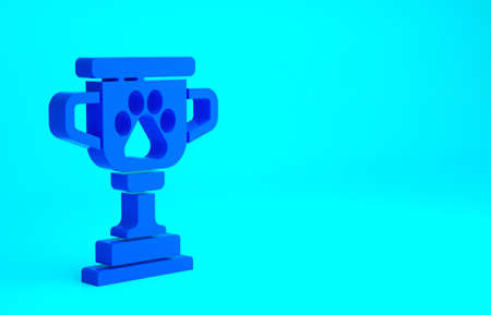 Blue Pet award symbol icon isolated on blue background. Medal with dog footprint as pets exhibition winner concept. Minimalism concept. 3d illustration 3D render Фото со стока