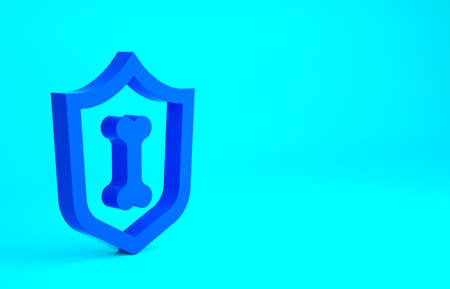 Blue Animal health insurance icon isolated on blue background. Pet protection concept. Minimalism concept. 3d illustration 3D render