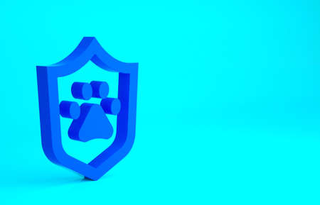 Blue Animal health insurance icon isolated on blue background. Pet protection concept. Dog or cat paw print. Minimalism concept. 3d illustration 3D render Фото со стока