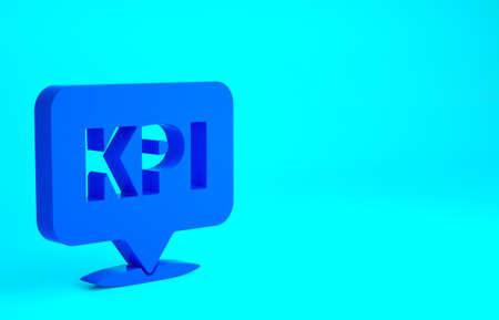 Blue KPI - Key performance indicator icon isolated on blue background. Minimalism concept. 3d illustration 3D render Фото со стока