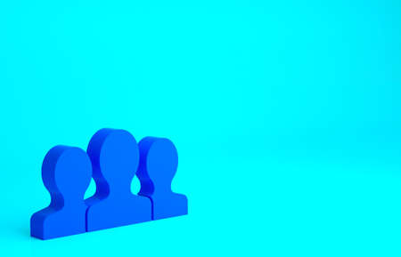 Blue Users group icon isolated on blue background. Group of people icon. Business avatar symbol - users profile icon. Minimalism concept. 3d illustration 3D render