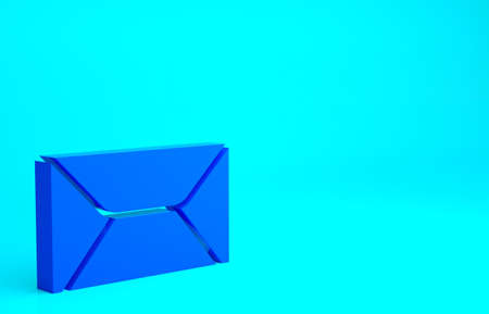 Blue Envelope icon isolated on blue background. Email message letter symbol. Minimalism concept. 3d illustration 3D render 版權商用圖片