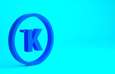 Blue Kelvin icon isolated on blue background. Minimalism concept. 3d illustration 3D render 免版税图像