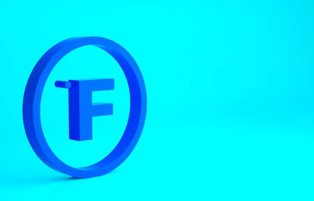Blue Fahrenheit icon isolated on blue background. Minimalism concept. 3d illustration 3D render