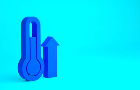 Blue Meteorology thermometer measuring icon isolated on blue background. Thermometer equipment showing hot or cold weather. Minimalism concept. 3d illustration 3D render