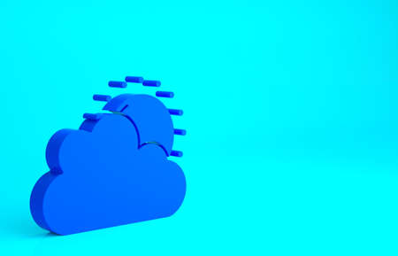 Blue Sun and cloud weather icon isolated on blue background. Minimalism concept. 3d illustration 3D render