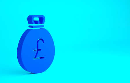 Blue Money bag with pound icon isolated on blue background. Pound GBP currency symbol. Minimalism concept. 3d illustration 3D render