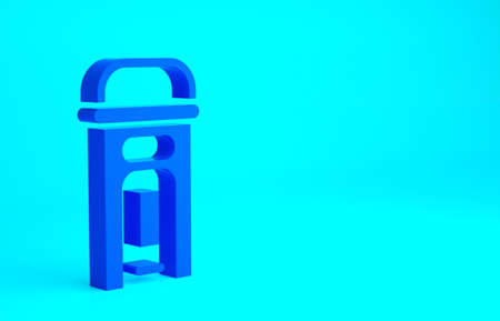 Blue London phone booth icon isolated on blue background. Classic english booth phone in london. English telephone street box. Minimalism concept. 3d illustration 3D render