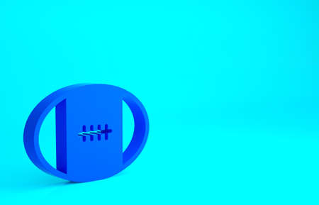 Blue Rugby ball icon isolated on blue background. Minimalism concept. 3d illustration 3D render