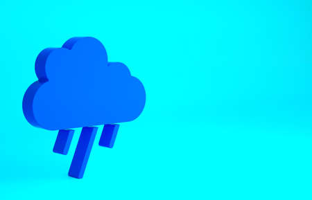 Blue Cloud with rain icon isolated on blue background. Rain cloud precipitation with rain drops. Minimalism concept. 3d illustration 3D render 版權商用圖片