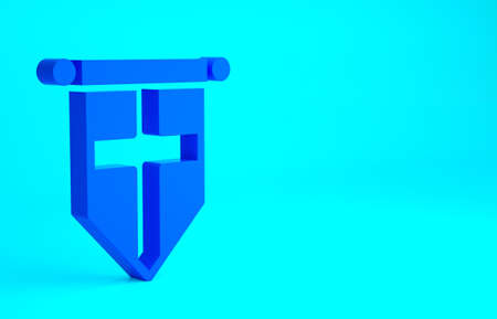 Blue England flag on pennant icon isolated on blue background. Minimalism concept. 3d illustration 3D render 版權商用圖片