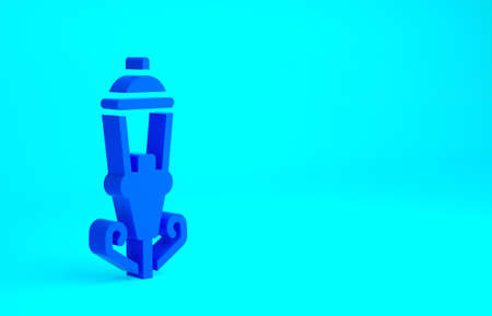 Blue Vintage street light icon isolated on blue background. Minimalism concept. 3d illustration 3D render