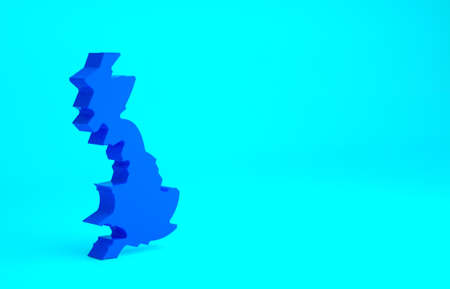 Blue England map icon isolated on blue background. Minimalism concept. 3d illustration 3D render
