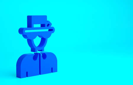 Blue Silhouette of Queen Elizabeth icon isolated on blue background. Minimalism concept. 3d illustration 3D render