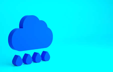 Blue Cloud with rain icon isolated on blue background. Rain cloud precipitation with rain drops. Minimalism concept. 3d illustration 3D render Stock fotó