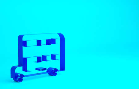 Blue Double decker bus icon isolated on blue background. London classic passenger bus. Public transportation symbol. Minimalism concept. 3d illustration 3D render