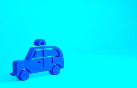 Blue Taxi car icon isolated on blue background. Minimalism concept. 3d illustration 3D render